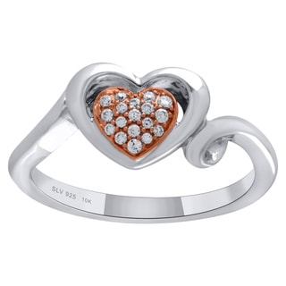 Sterling Silver with 10k Rose Gold 1/10CTtw Heart Shaped Diamond Ring
