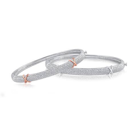 Divina Silver overlay Diamond Accent Fashion Bangle