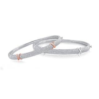 Divina Silver overlay Diamond Accent Fashion Bangle - n/a