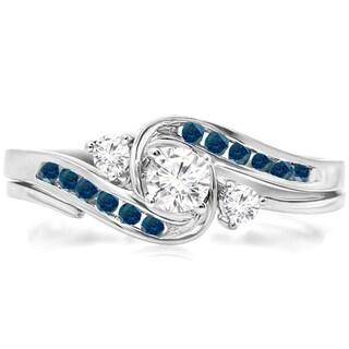 Elora 10k White Gold 1/2ct TDW Round Blue and White Diamond Swirl Bridal Set (H-I, I1-I2)