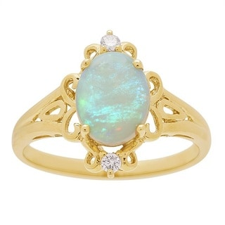 14-karat Yellow Gold Australian Opal and Diamond Ring by Anika and August