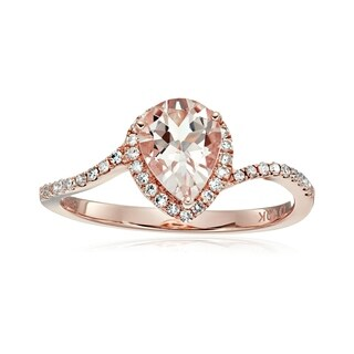 Pinctore 10k Rose Gold Morganite and 1/5ct TDW White Diamond Pear Shape Engagement Ring (H-I, I1-I2)