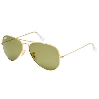 Ray Ban RB 3025 Classic Aviator 001/P1 Gold Metal Sunglasses with Light Green Polarized Lens 62mm