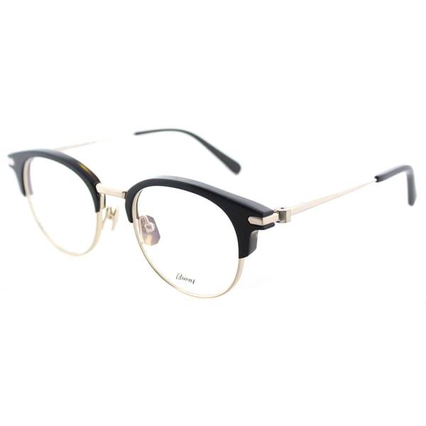 7aae82cdeda Brioni BR 0008O 001 Night and Day Black Gold Plastic 50-millimeter Round  Eyeglasses