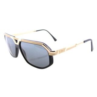 Cazal Cazal 8021 001SG Black Gold Plastic Aviator Sunglasses with Grey Lens