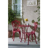 Triora Cast Aluminum Bistro Set, Lipstick Red Finish