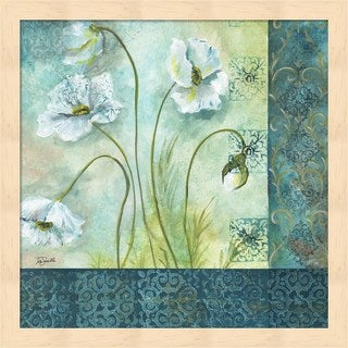 Tre Sorelle Studios 'White Poppy Garden II' Wood Framed Art