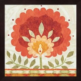 Sue Schlabach 'Ikat Bloom II' Mahogany Framed Art