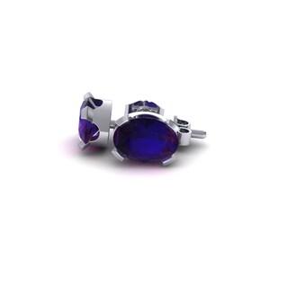 1 Carat Oval Shape Amethyst Stud Earrings In Sterling Silver