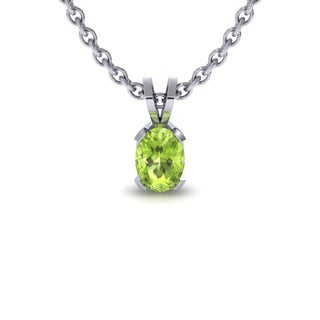 1/2 TGW Oval Shape Peridot Necklace In Sterling Silver, 18 Inches