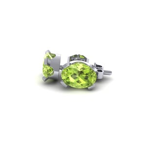 1 Carat Oval Shape Peridot Stud Earrings In Sterling Silver