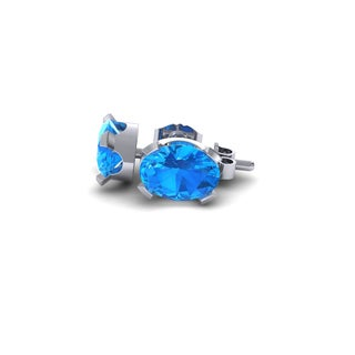 1 Carat Oval Shape Blue Topaz Stud Earrings In Sterling Silver