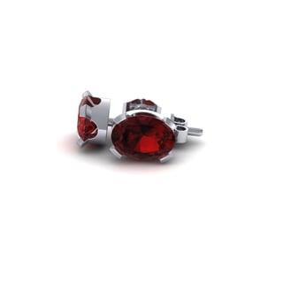 1 TGW Oval Shape Garnet Stud Earrings In Sterling Silver