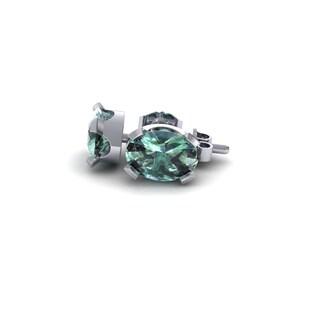 1 Carat Oval Shape Green Amethyst Stud Earrings In Sterling Silver