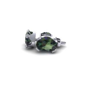 1 1/2 Carat Oval Shape Mystic Topaz Stud Earrings In Sterling Silver