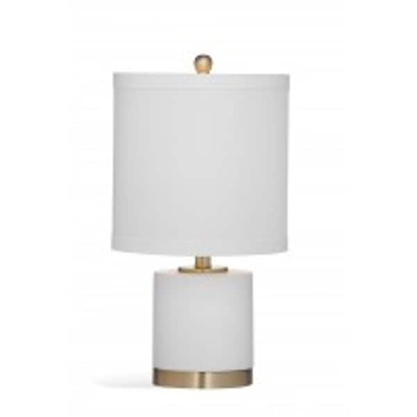 Bassett Mirror Company Audrey 21 Inch White And Gold Glass Table Lamp
