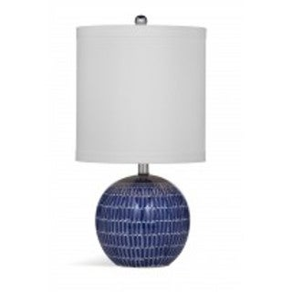 Alden White and Blue Natural Material 23-inch Table Lamp