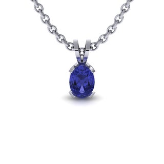 1 TGW Oval Shape Tanzanite Necklace In Sterling Silver, 18 Inches