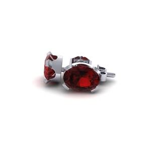 2 TGW Oval Shape Garnet Stud Earrings In Sterling Silver