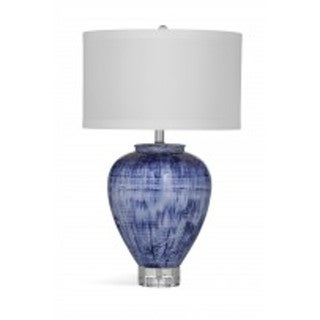Reena 27-inch White/Blue Ceramic Table Lamp