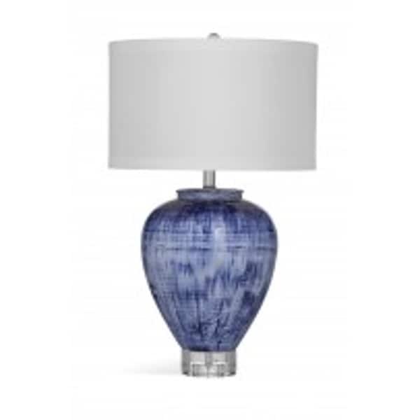 Reena 27-inch White/Blue Ceramic Table Lamp