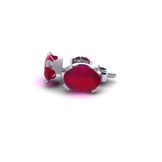 2 Carat Oval Shape Ruby Stud Earrings In Sterling Silver