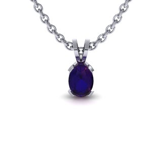1 Carat Oval Shape Amethyst Necklace In Sterling Silver, 18 Inches