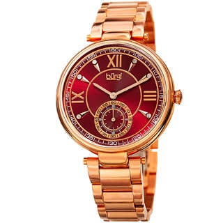 Burgi Women's Swarovski Element Crystal Classic Rose-Tone Stainless Steel Bracelet Watch with GIFT BOX