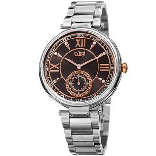Burgi Women's Swarovski Crystal Classic Silver-Tone Stainless Steel Bracelet Watch