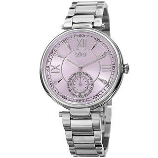 Burgi Women's Swarovski Crystal Classic Purple/Silver-Tone Stainless Steel Bracelet Watch