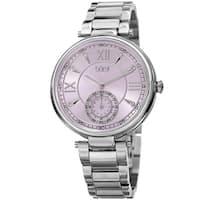 Burgi Women's Swarovski Elements Crystal Classic Purple/Silver-Tone Stainless Steel Bracelet Watch