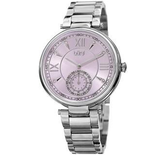 Burgi Women's Swarovski Crystal Classic Purple/Silver-Tone Stainless Steel Bracelet Watch