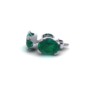 2 1/3 Carat Oval Shape Emerald Stud Earrings In Sterling Silver