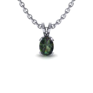 1 Carat Oval Shape Mystic Topaz Necklace In Sterling Silver, 18 Inches