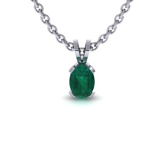1 TGW Oval Shape Emerald Necklace In Sterling Silver, 18 Inches