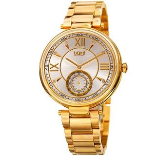 Burgi Women's Swarovski Crystal Classic Gold-Tone Stainless Steel Bracelet Watch