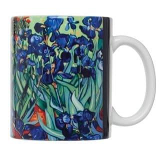 Vincent Van Gogh Les Irises Fine Art White Porcelain 12-ounce Coffee Tea Mug (Pack of 4)