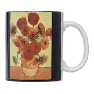 Vincent Van Gogh Sunflowers Fine Art White Porcelain 12-ounce Coffee Tea Mug (Pack of 4)