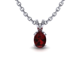 1 1/2 Carat Oval Shape Garnet Necklace In Sterling Silver, 18 Inches