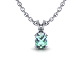 1 Carat Oval Shape Green Amethyst Necklace In Sterling Silver, 18 Inches