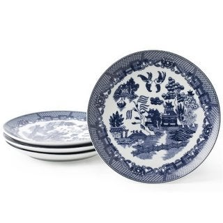Blue Willow Blue Porcelain 7.25-inch Dessert Plates (Pack of 4)