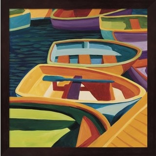 Catherine Breer 'So Freeport Dinghies' Mahogany Framed Art