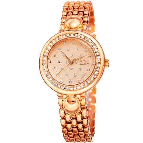 Burgi Women's Swarovski Crystal Diamond Patterned Elegant Rose-Tone Bracelet Watch