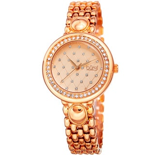 Burgi Women's Swarovski Crystal Elements Diamond Patterned Elegant Rose-Tone Bracelet Watch with FREE GIFT
