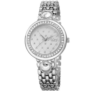 Burgi Women's Swarovski Crystal Diamond Patterned Elegant Silver-Tone Bracelet Watch