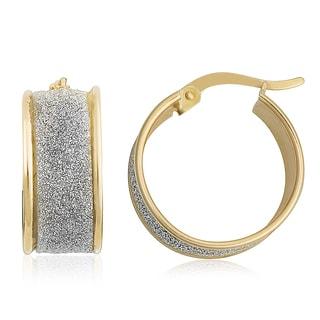 Fremada 14k Two-tone High Polish and Glass Blast Finished Hoop Earrings