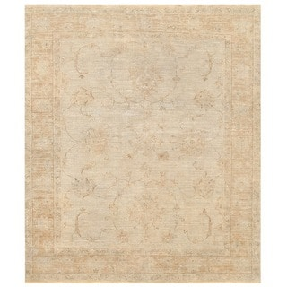 Herat Oriental Afghan Hand-knotted Vegetable Dye White Wash Oushak Wool Rug (4'10 x 5'7)