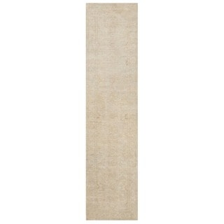 Herat Oriental Afghan Hand-knotted Vegetable Dye White Wash Oushak Wool Runner (3'1 x 12'7)