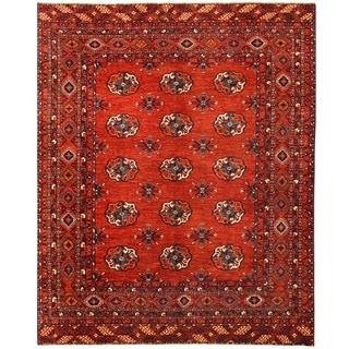Herat Oriental Afghan Hand-knotted Vegetable Dye Turkoman Wool Rug (7'11 x 9'9)