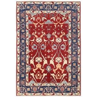 Herat Oriental Afghan Hand-knotted Vegetable Dye Ziegler Wool Rug (5'10 x 8'10)